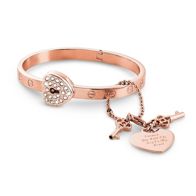 Rose Gold Lock and Key Bangle with complimentary Classic Beveled Edge Round Keepsake Box