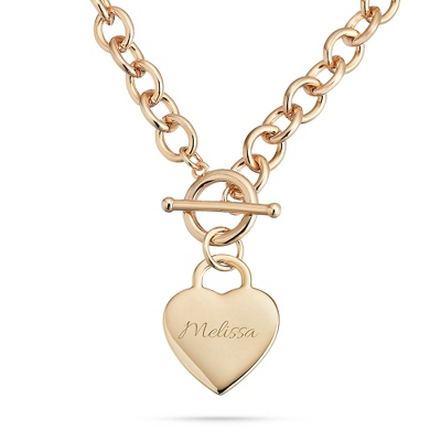 Classic Gold Padlock Heart Toggle Necklace with complimentary Filigree Keepsake Box - Fashion Necklaces