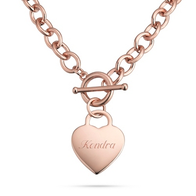Classic Rose Gold Padlock Heart Toggle Necklace with complimentary Filigree Keepsake Box - $34.99