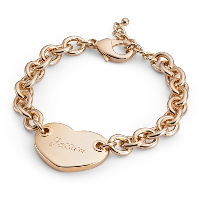 Classic Gold Heart Tag Bracelet with complimentary Filigree Keepsake Box