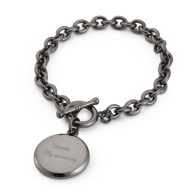 Classic Round Gunmetal Toggle Bracelet with complimentary Filigree Keepsake Box - Fashion Bracelets & Bangles
