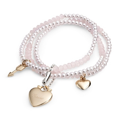 Pink and White Stretch Bracelet with complimentary Filigree Keepsake Box - $19.99