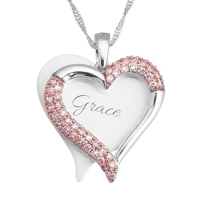 Brushed Heart with Pink CZ Swing Necklace with complimentary Filigree Keepsake Box