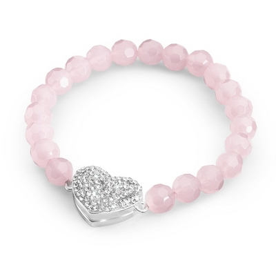 Rose Quartz Magnetic Pave Heart Bracelet with complimentary Filigree Keepsake Box