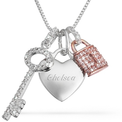 Pink CZ Padlock and Key Necklace with complimentary Filigree Keepsake Box