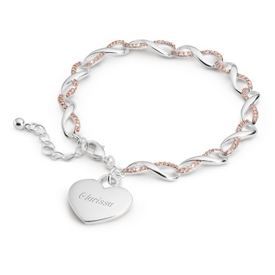 Pink CZ Infinity Heart Bracelet with complimentary Filigree Keepsake Box