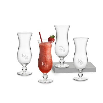 Set of Four Hurricane Glasses with Monogram - $25.00
