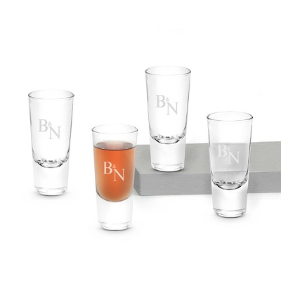 Set of Four Big Shot Glasses with Monogram