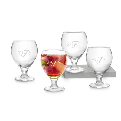 Set of Four Sangria Glasses with Monogram - $25.00