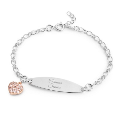 Girls Pink Heart ID Bracelet with complimentary Filigree Heart Box - Free Keepsake Boxes