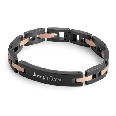 Black & Rose Gold ID Bracelet with complimentary Weave Texture Valet Box