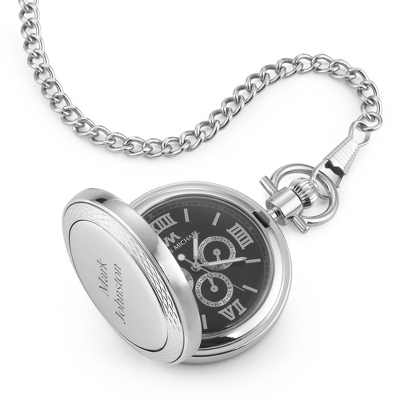 Black Three Dial Pocket Watch
