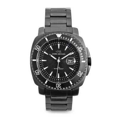 Black Stainless Steel Diver Watch with complimentary Black Lacquer Wrist Watch Box