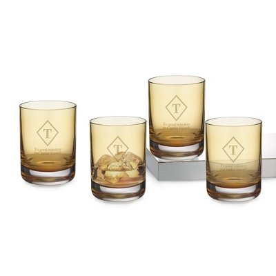 Set of 4 Amber Double Old Fashioned Glasses with Monogram