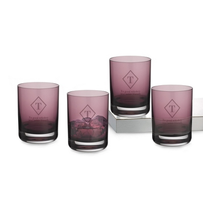 Set of 4 Amethyst Double Old Fashioned Glasses with Monogram