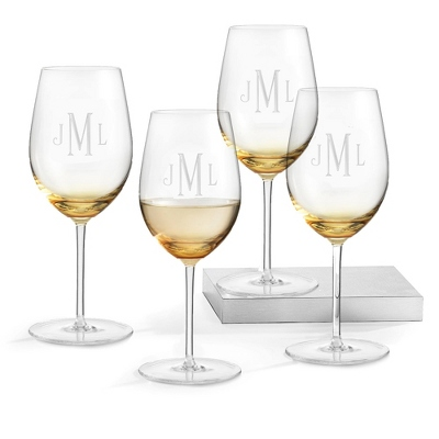 Set of 4 Amber Wine Glasses with Monogram