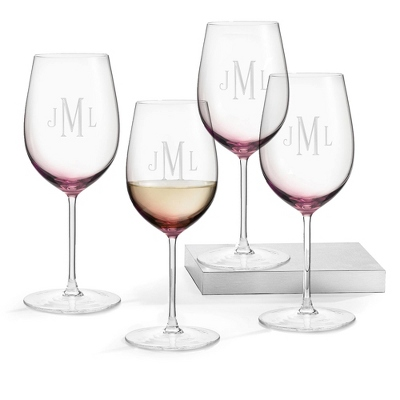 Set of 4 Amethyst Wine Glasses with Monogram