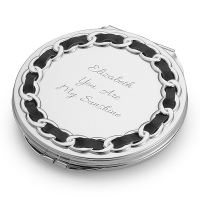 Silver Compact with Black Chain Detail