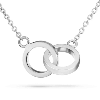 Sterling Silver Infinity Double Rings Necklace with complimentary Filigree Keepsake Box - UPC 825008020207