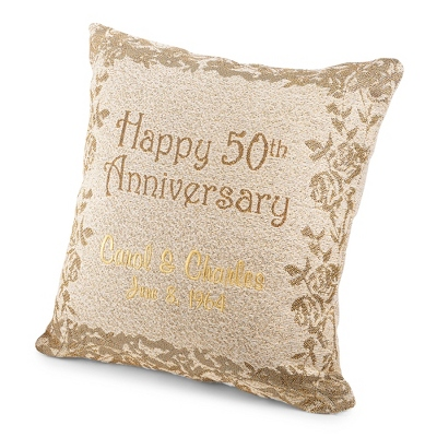 50th Anniversary Pillow - Wedding & Anniversary Throws