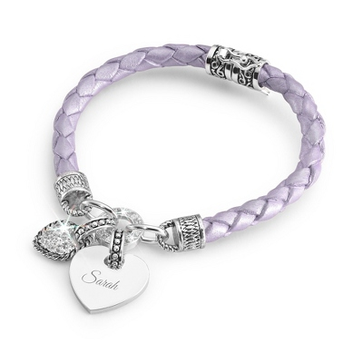 Girl's Purple Leather Bracelet with complimentary Filigree Heart Box