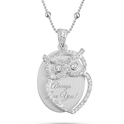 Crystal Bling Owl Necklace with complimentary Filigree Keepsake Box - Fashion Necklaces