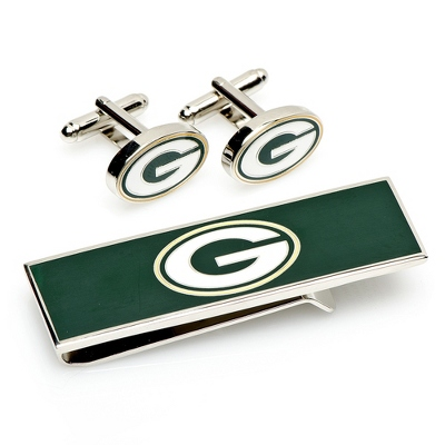 Green Bay Packers Cuff Links and Money Clip Gift Set with complimentary Weave Texture Valet Box