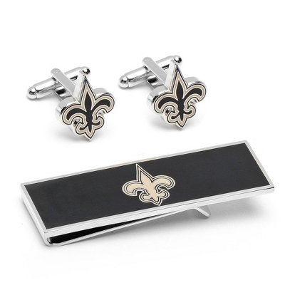 New Orleans Saints Cuff Links and Money Clip Gift Set with complimentary Weave Texture Valet Box