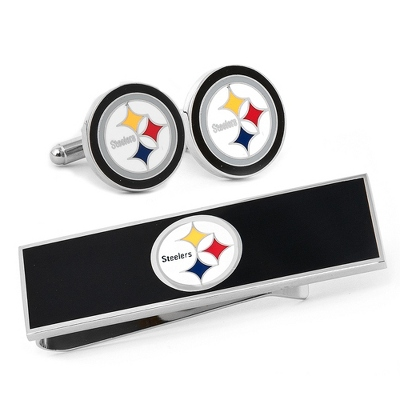 Pittsburgh Steelers Cuff Links and Money Clip Gift Set with complimentary Weave Texture Valet Box