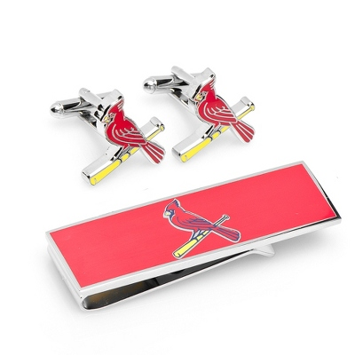 St. Louis Cardinals Cuff Links and Money Clip Gift Set with complimentary Weave Texture Valet Box