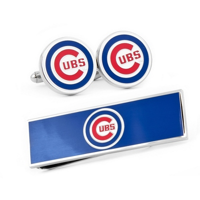 Chicago Cubs Cuff Links and Money Clip Gift Set with complimentary Weave Texture Valet Box