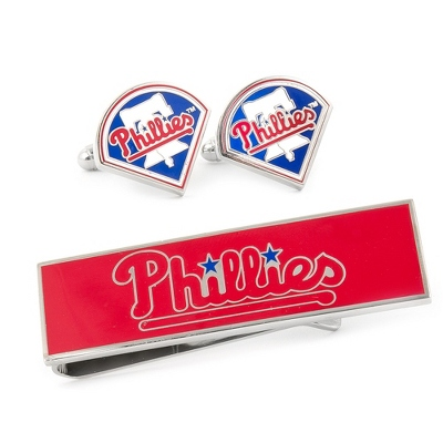 Philadelphia Phillies Cuff Links and Money Clip Gift Set with complimentary Weave Texture Valet Box