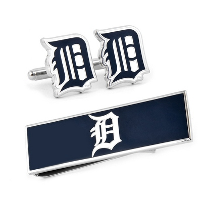Detroit Tigers Cuff Links and Money Clip Gift Set with complimentary Weave Texture Valet Box