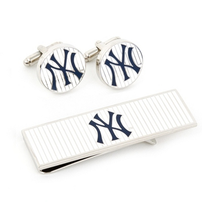Yankees Pinstripe Cuff Links and Money Clip Gift Set with complimentary Weave Texture Valet Box