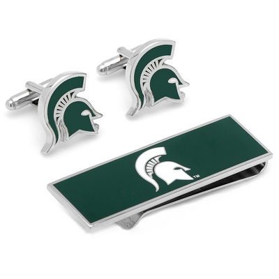 Michigan State Spartans Cuff Links and Money Clip Gift Set with complimentary Weave Texture Valet Box