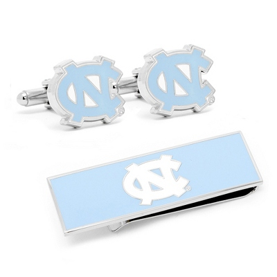 North Carolina Tarheels Cuff Links and Money Clip Gift Set with complimentary Weave Texture Valet Box
