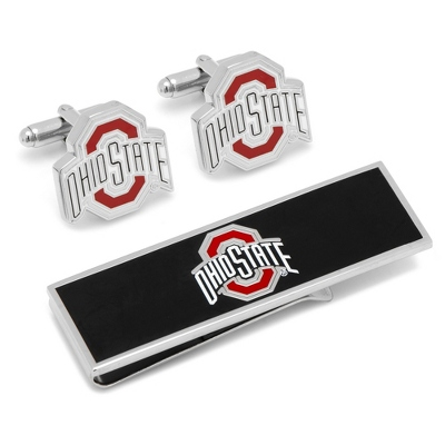 Ohio State University Cuff Links and Money Clip Gift Set with complimentary Weave Texture Valet Box