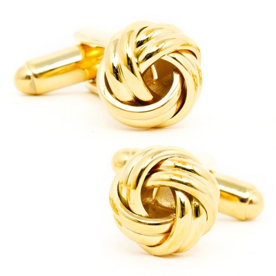 Gold Knot Cuff Links with complimentary Weave Texture Valet Box