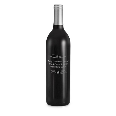 Merlot Today Tomorrow Forever Design Etched Wine Bottle