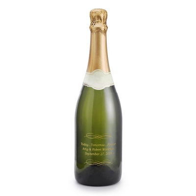 Sparkling Today Tomorrow Forever Design Etched Wine Bottle