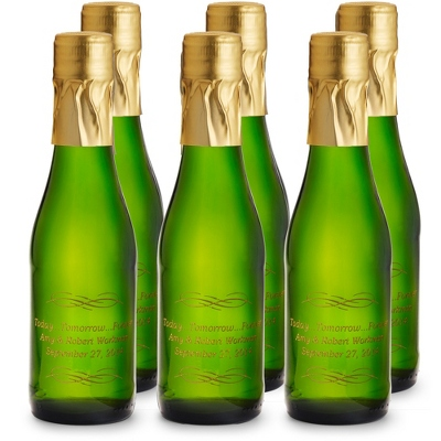 "Set of 6 ""Today..."" Mini Etched Sparkling Wine Bottle Favors - UPC 825008024915"