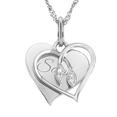 Diamond Necklace with Engraved Box
