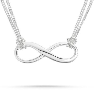 Sterling Silver Multi Chain Infinity Necklace with complimentary Filigree Keepsake Box