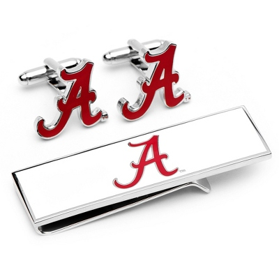 University of Alabama Cuff Links and Money Clip Gift Set with complimentary Weave Texture Valet Box - Tie Bars & Cuff Links