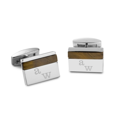 Cuff Links with Tiger's Eye Accents