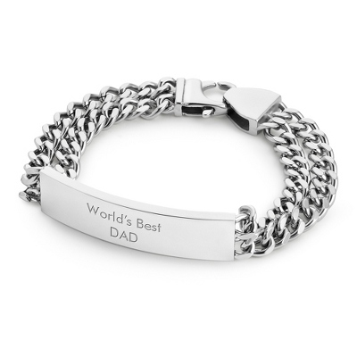 Double Chain ID Bracelet with complimentary Weave Texture Valet Box
