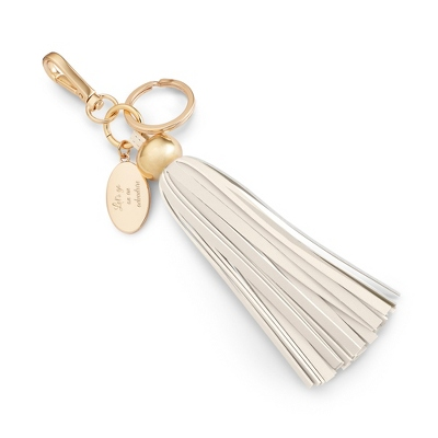 Cream Tassel Engraved Key Chain