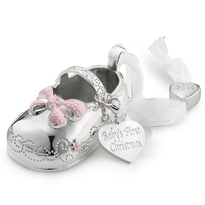 Personalized 2014 Girl Baby Bootie Christmas Ornament By