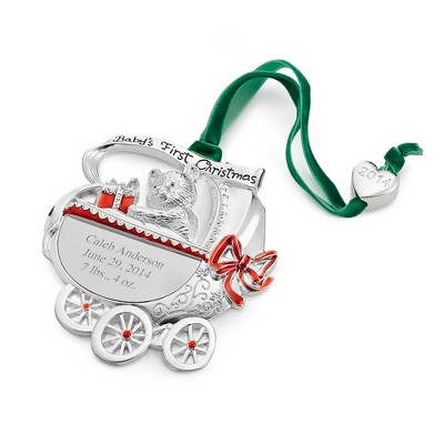 2014 Personalized Baby Carriage Ornament - UPC 825008025752