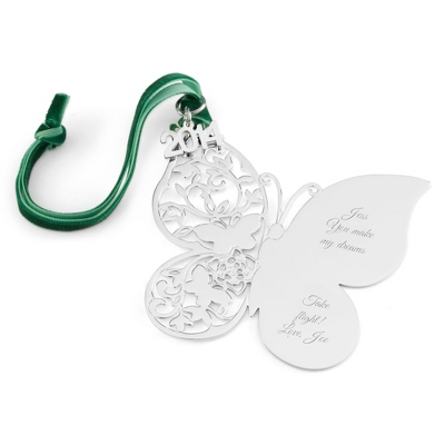 2014 Engraved Classic Butterfly Christmas Ornament